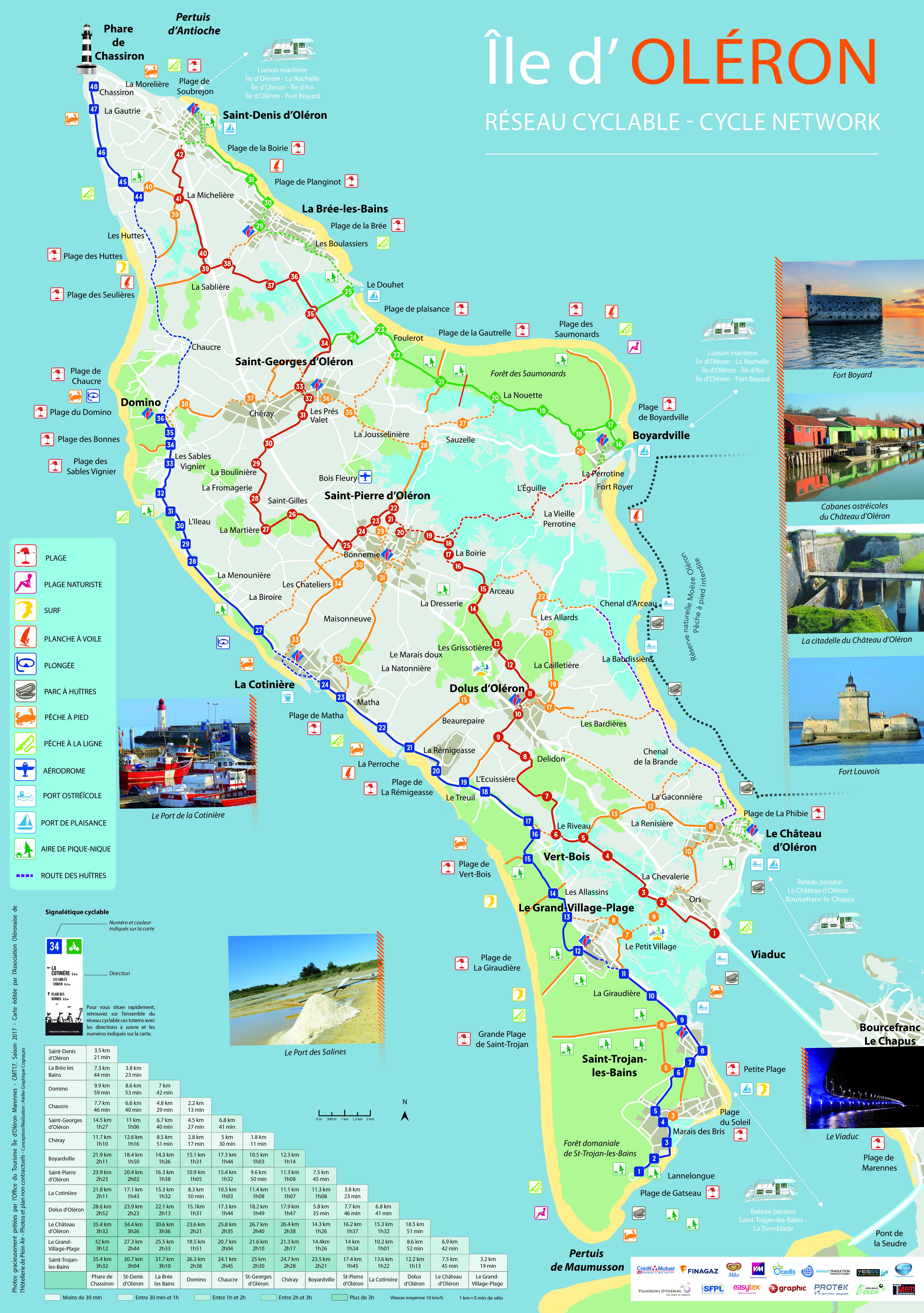 carte de l ile d oleron Bicycle touring Oléron – Campings.Online   Campings.Online