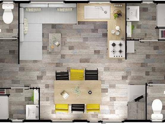 Mobil home vip family 4 chambres 2 salles de bain - Mobil home chambres salles de bain ...